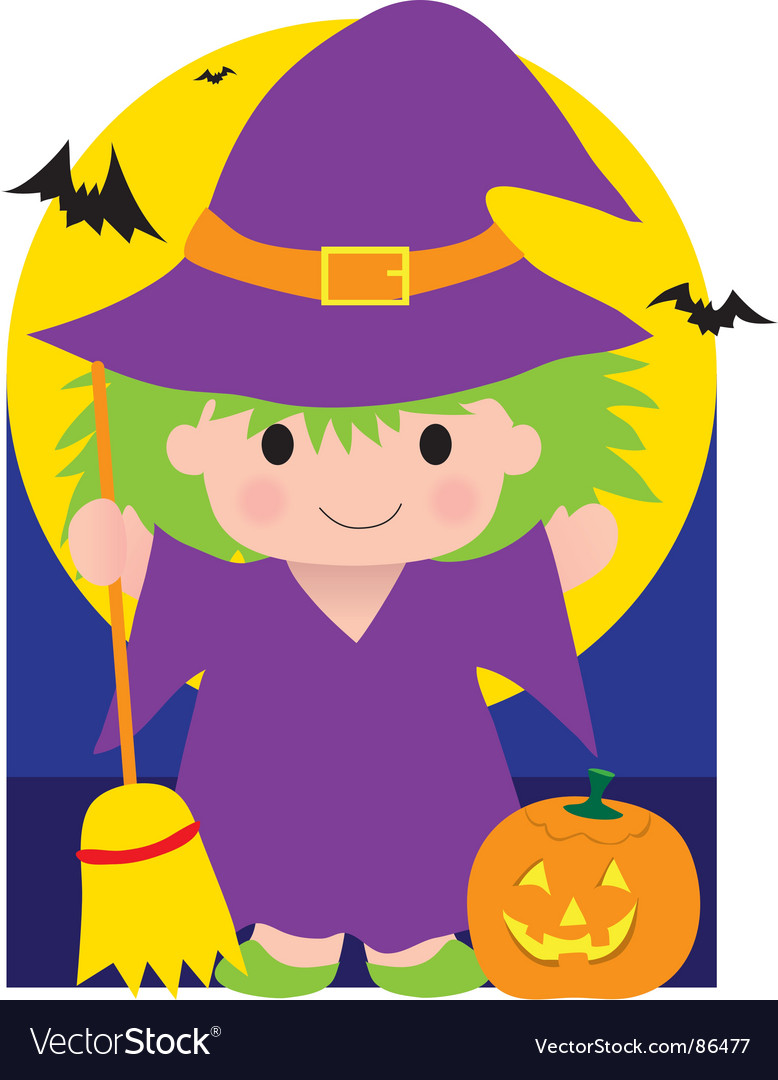 Witch kid vector | Price: 1 Credit (USD $1)