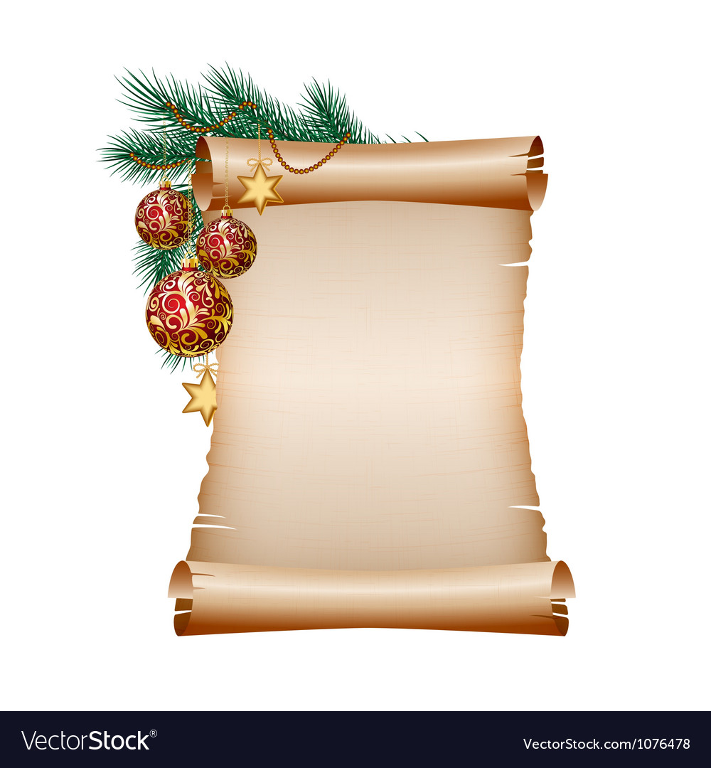 Christmas blank scroll paper on white background vector | Price: 3 Credit (USD $3)
