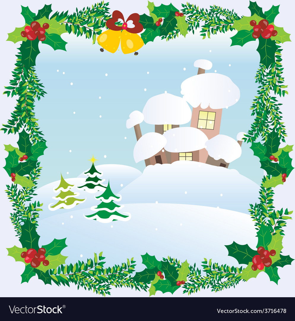 Christmas landscape winter snow houses roofs vector | Price: 1 Credit (USD $1)