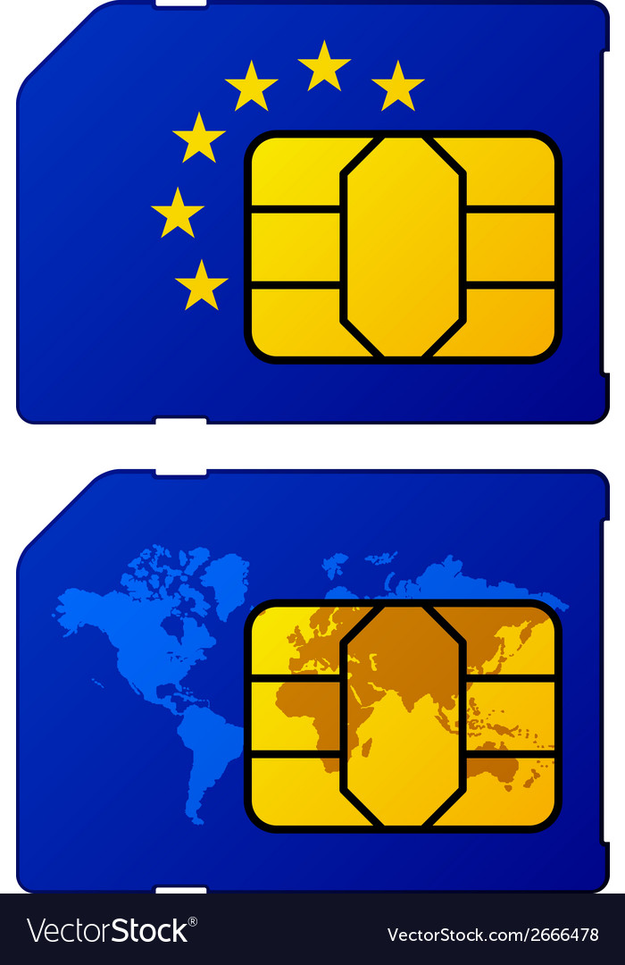 Europe flag world map sim card vector | Price: 1 Credit (USD $1)