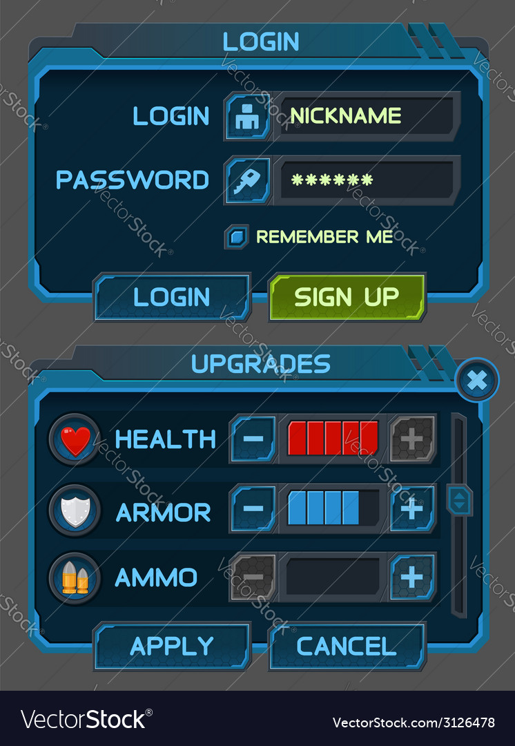 Interface buttons set for space games vector   Price: 1 Credit (USD $1)
