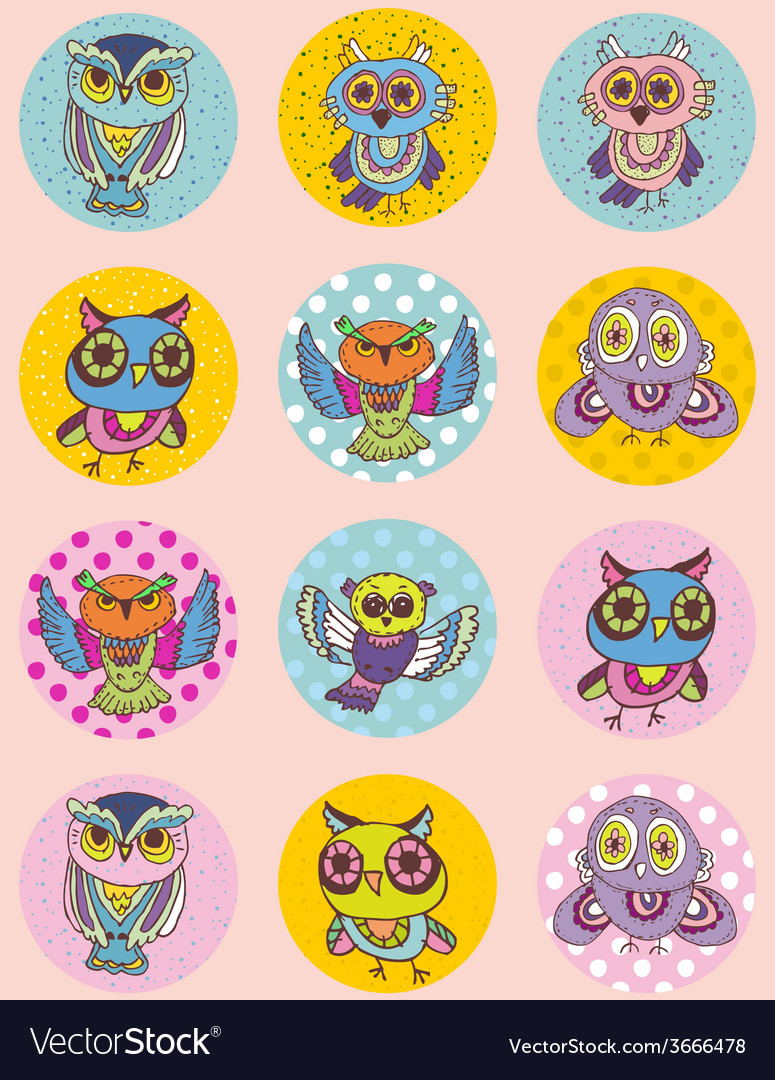 Set of funny owl sketch doodle seamless pattern on vector   Price: 1 Credit (USD $1)