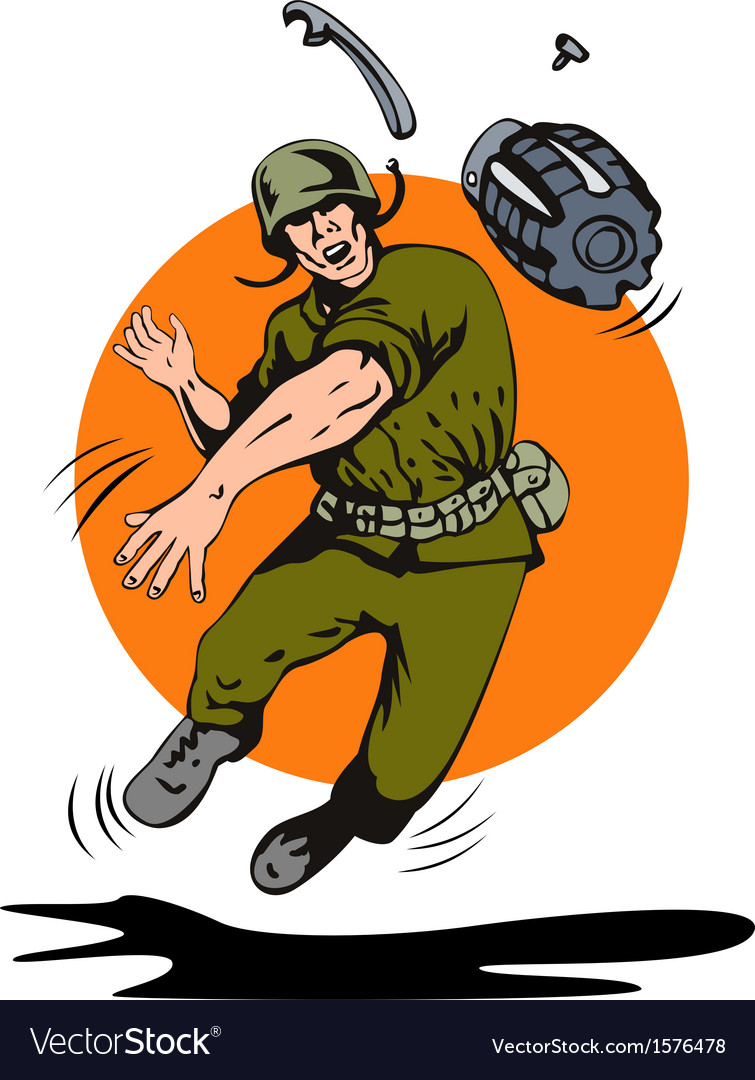Soldier throwing grenade vector | Price: 1 Credit (USD $1)