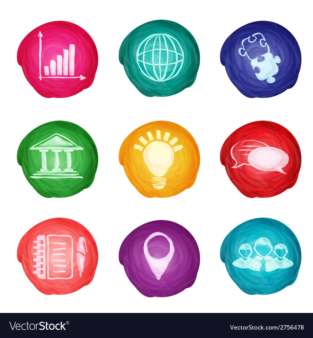 Watercolor business icons round vector | Price: 1 Credit (USD $1)