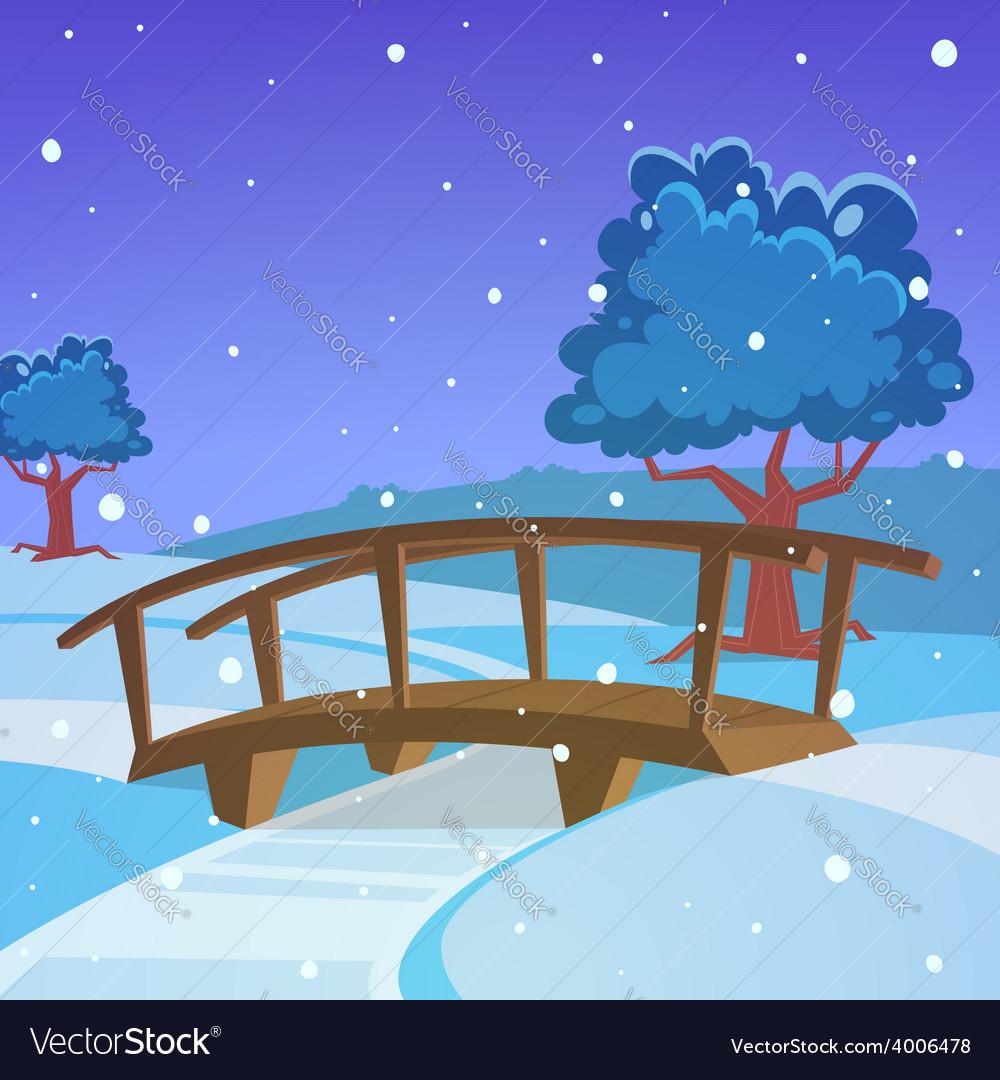 Winter landscape with bridge vector   Price: 5 Credit (USD $5)