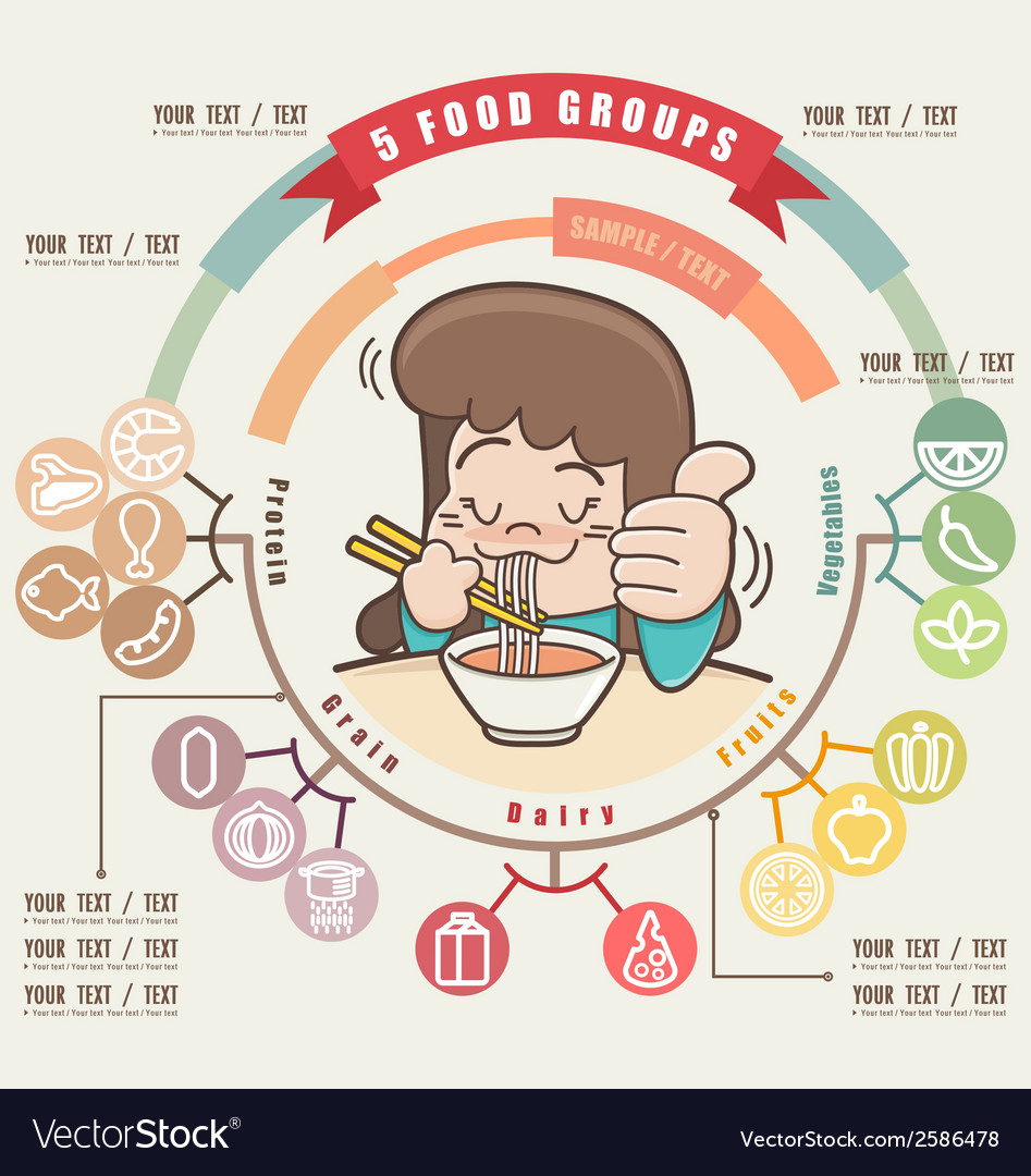 Young girl enjoying eating her noodle vector | Price: 1 Credit (USD $1)