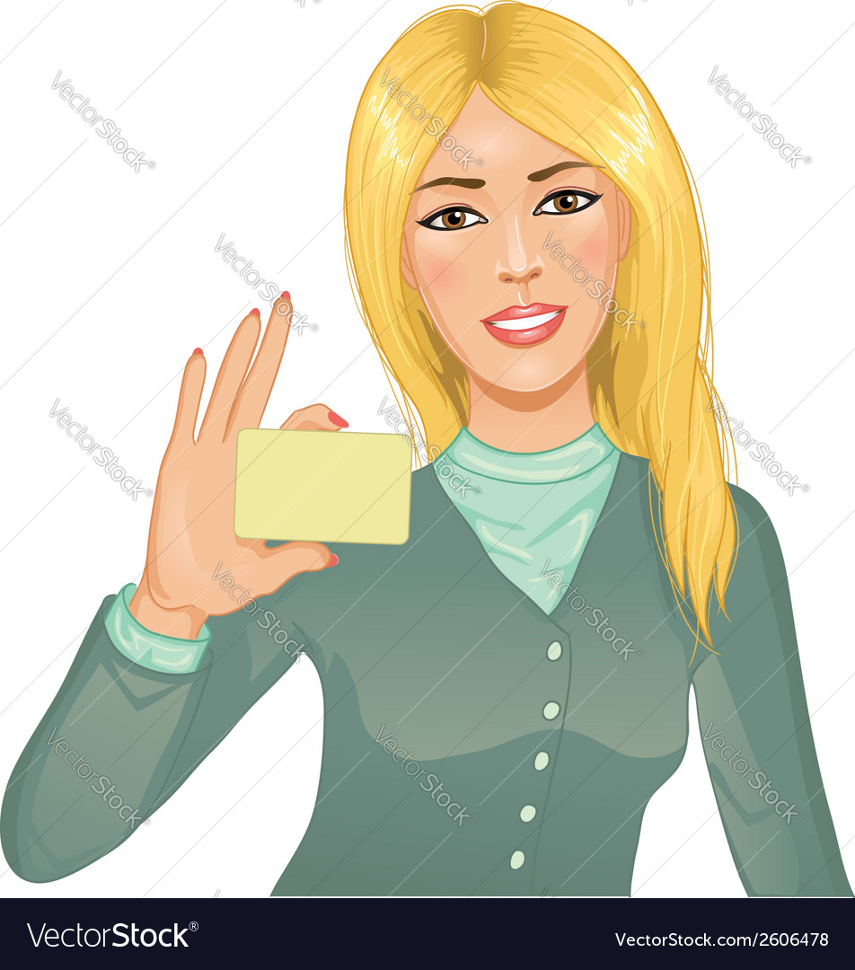Young woman with a card vector | Price: 1 Credit (USD $1)