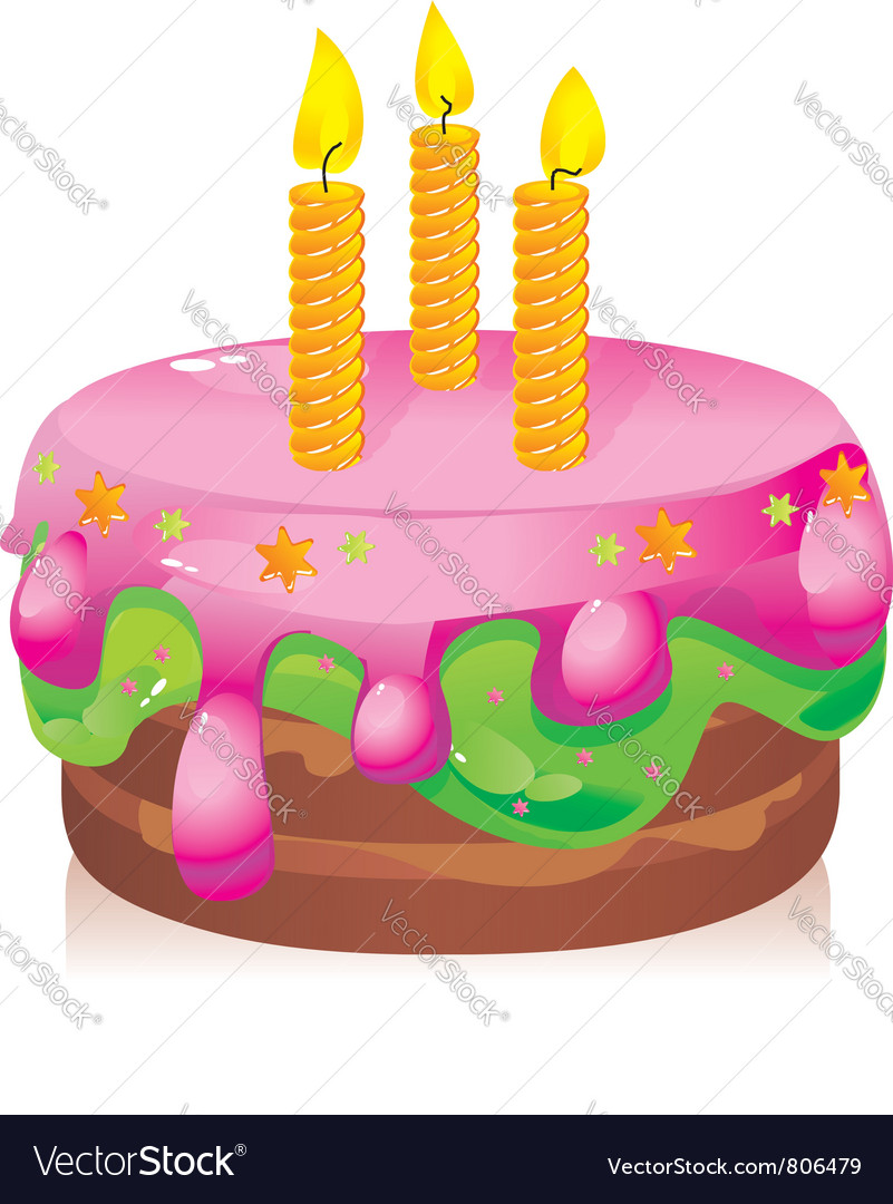 Birthday cake with candles vector | Price: 3 Credit (USD $3)