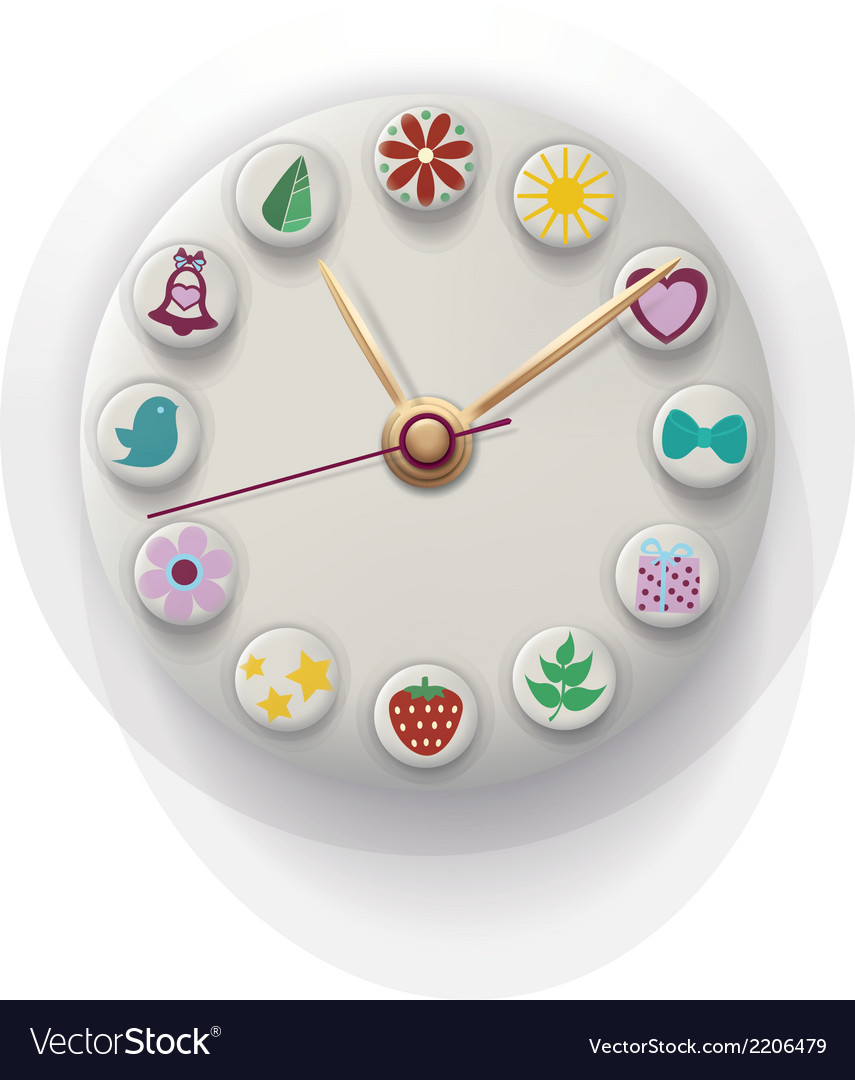 Clock hand made with colorful button vector | Price: 1 Credit (USD $1)