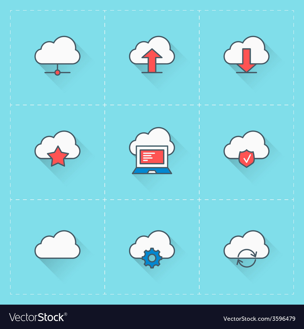 Cloud computing icons icon set in flat design vector | Price: 1 Credit (USD $1)