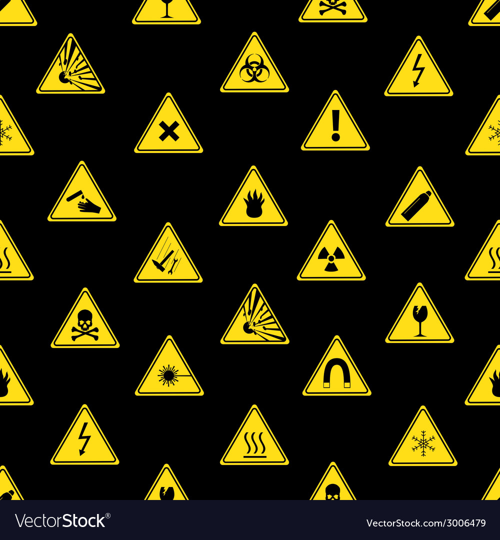 Danger signs types seamless pattern eps10 vector | Price: 1 Credit (USD $1)