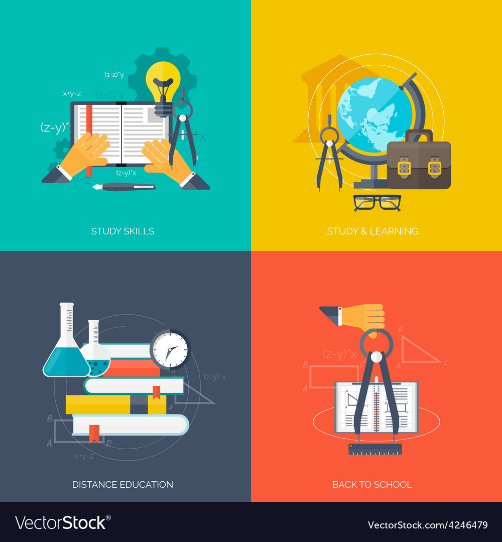 Flat concept education backgrounds set back to vector | Price: 1 Credit (USD $1)