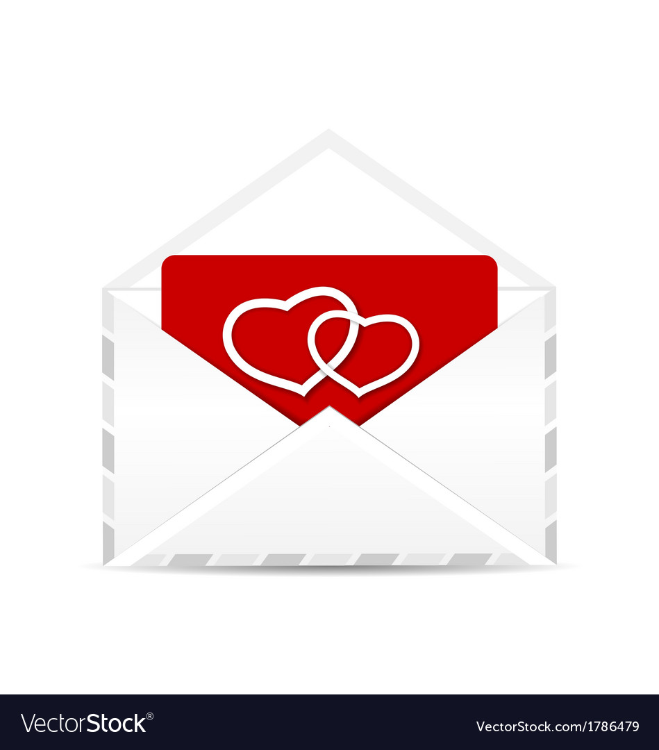 Open envelope with valentine postcard vector | Price: 1 Credit (USD $1)