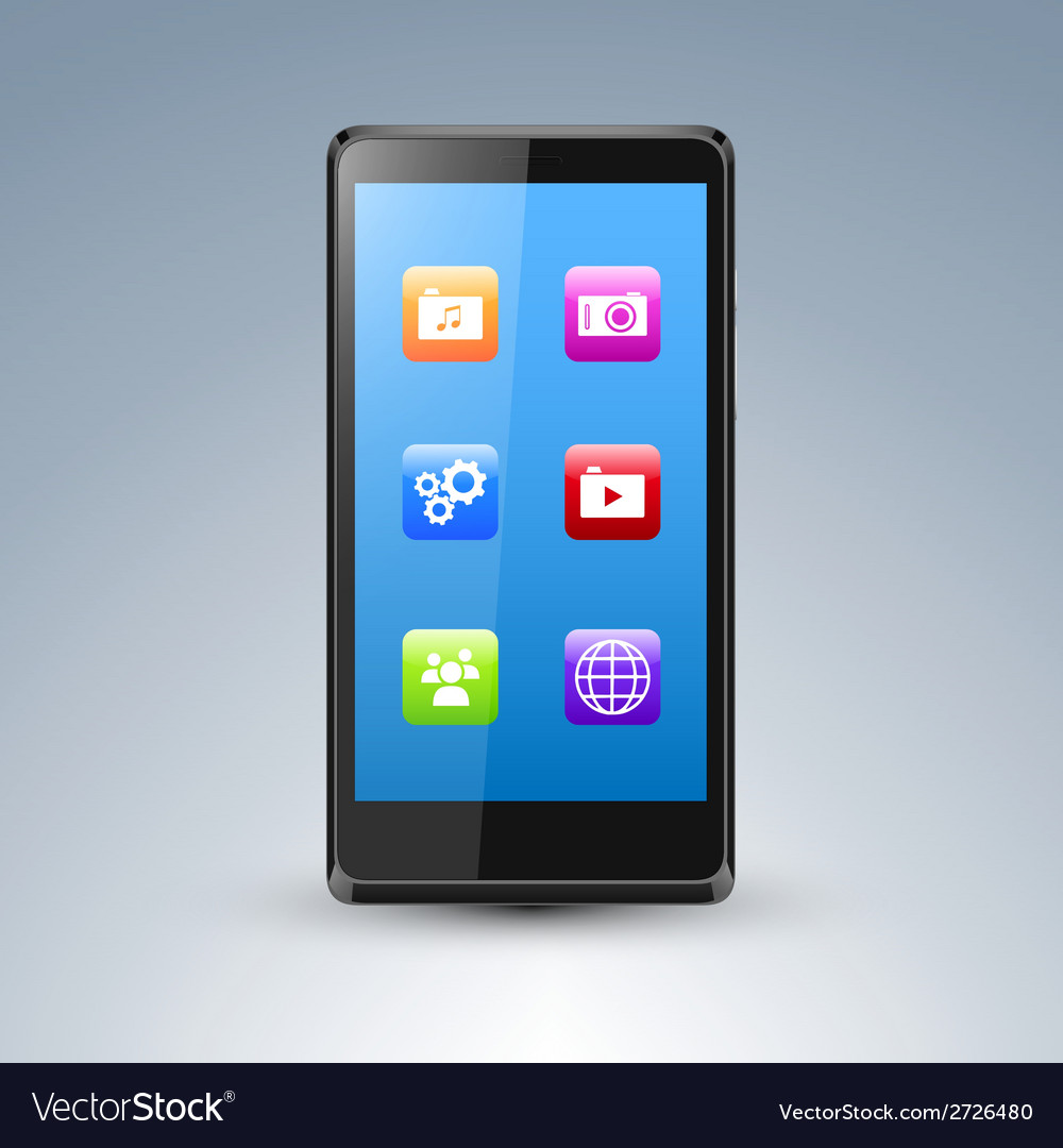 A smarthone with app icons vector | Price: 1 Credit (USD $1)
