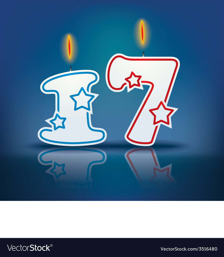 Birthday candle number 17 vector | Price: 1 Credit (USD $1)