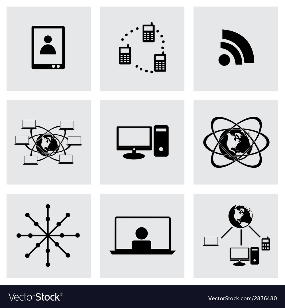 Black web icons set vector | Price: 1 Credit (USD $1)