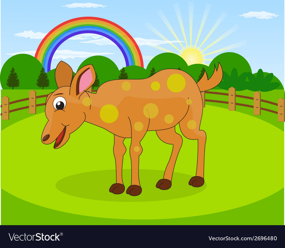 Cartoon deer and rural meadow vector | Price: 1 Credit (USD $1)