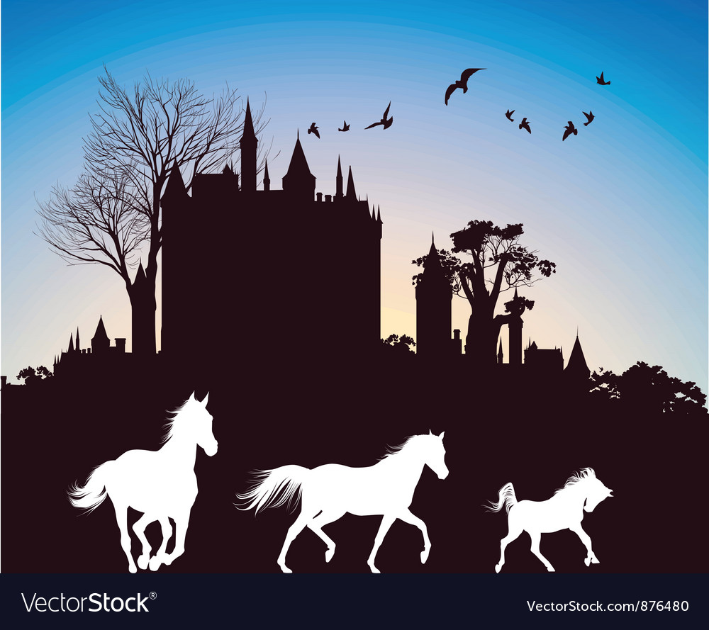 Castle at dusk vector | Price: 1 Credit (USD $1)