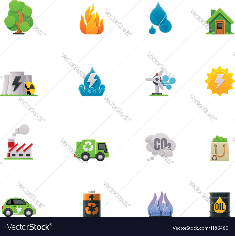 Ecology icon set vector | Price: 3 Credit (USD $3)