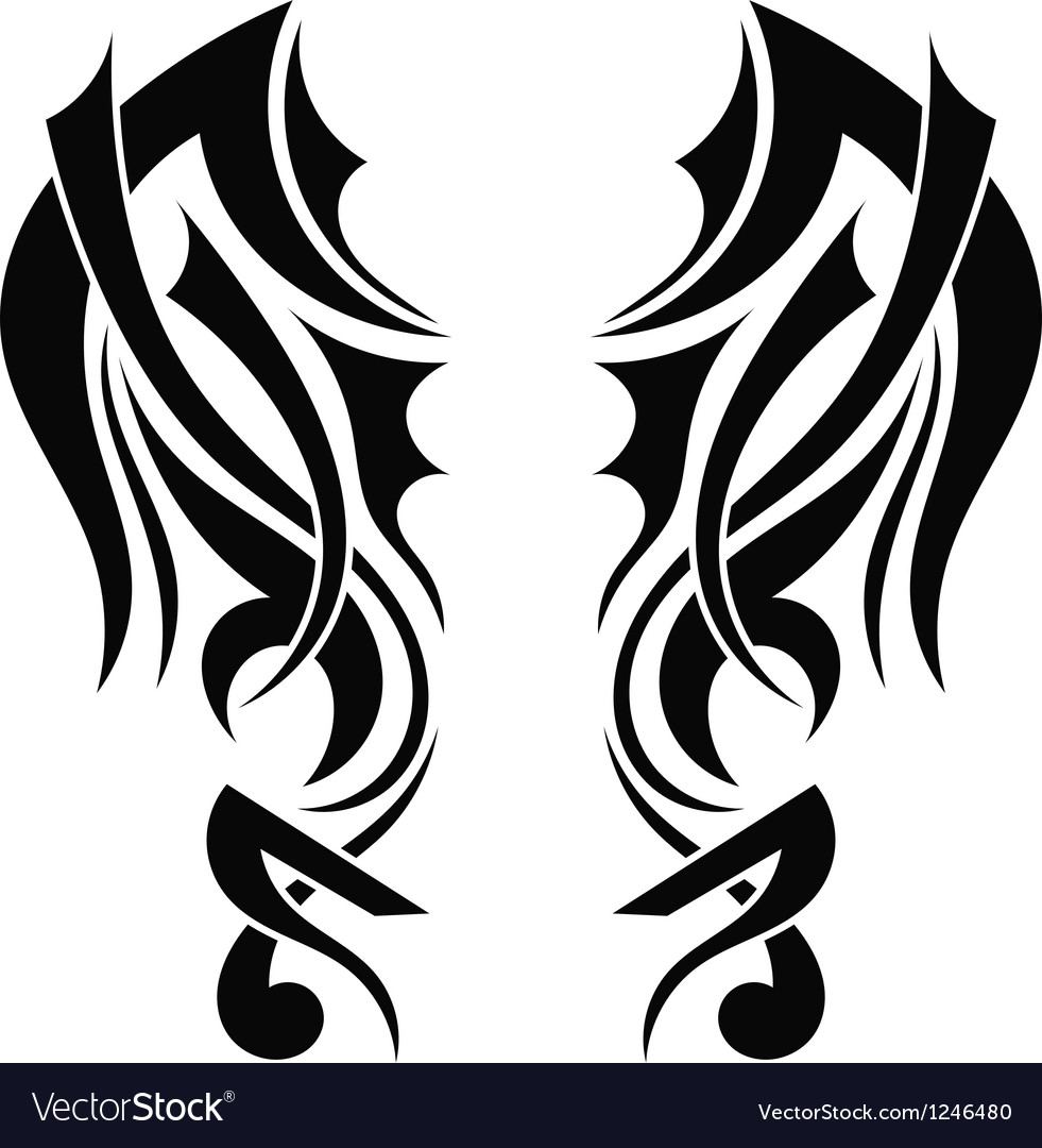 Graphic design tribal tattoo wings vector | Price: 1 Credit (USD $1)