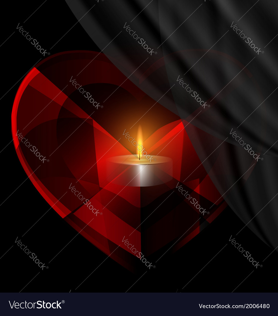 Heart-crystal and candle vector | Price: 1 Credit (USD $1)
