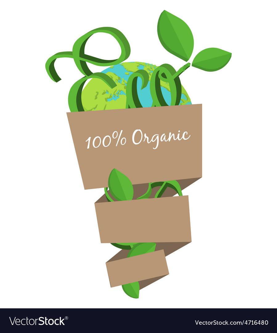 Organic eco bag concept green world natural vector   Price: 1 Credit (USD $1)