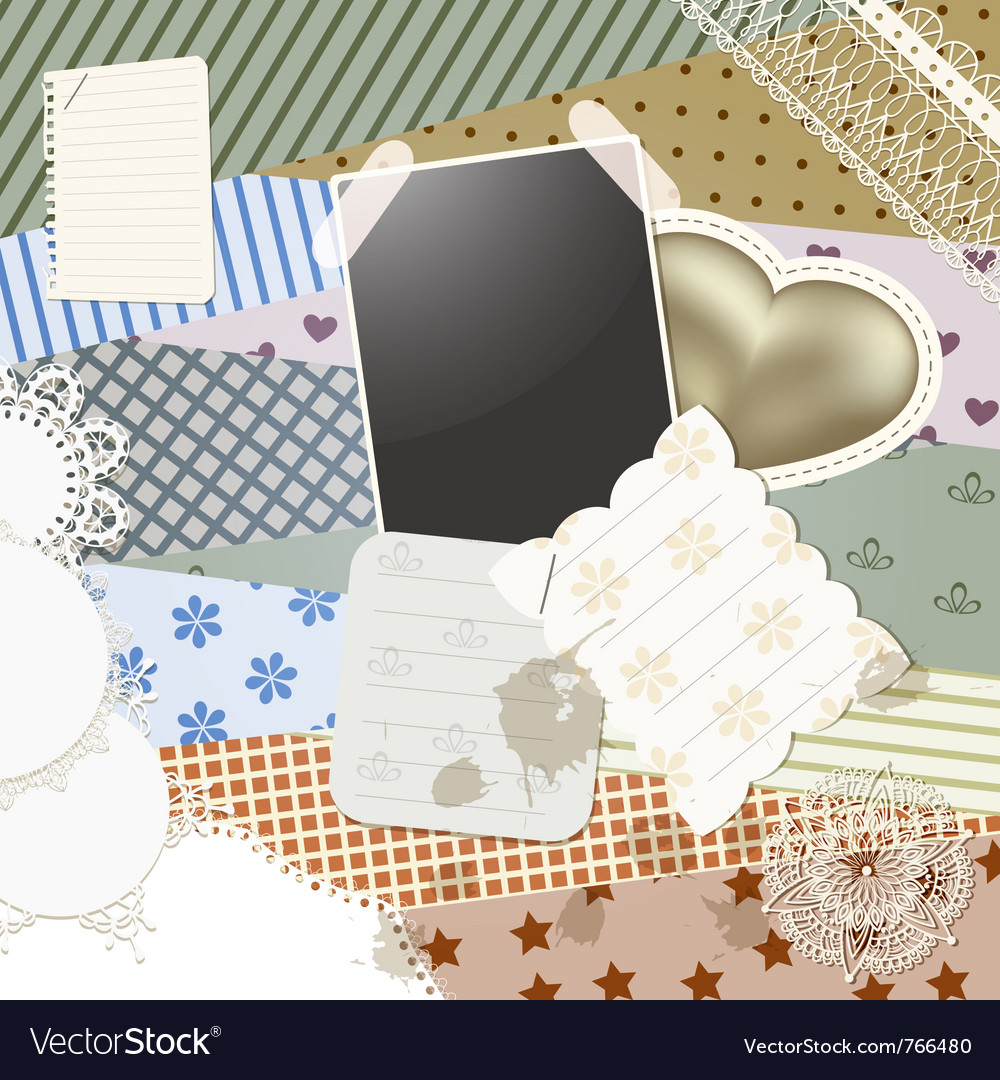 Scrapbook template design vector | Price: 1 Credit (USD $1)