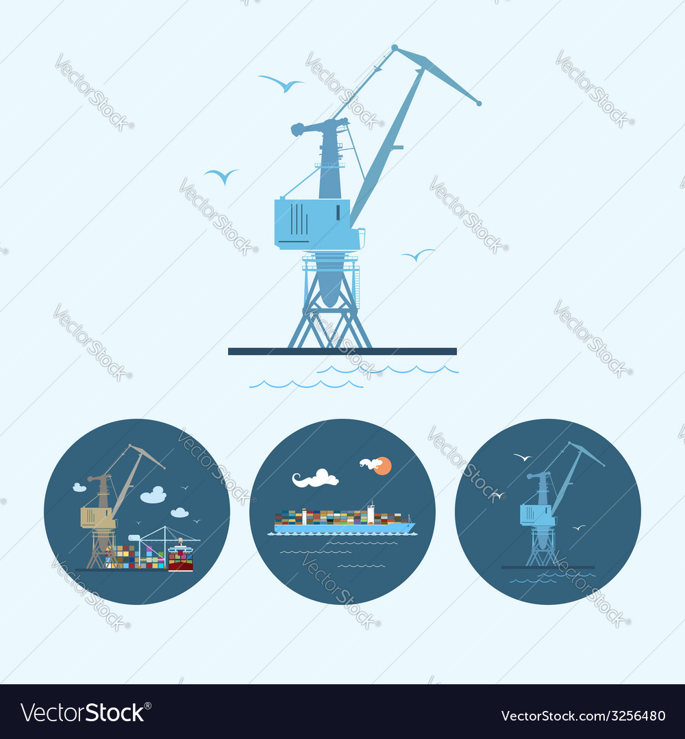 Set icons with crane containership vector | Price: 1 Credit (USD $1)