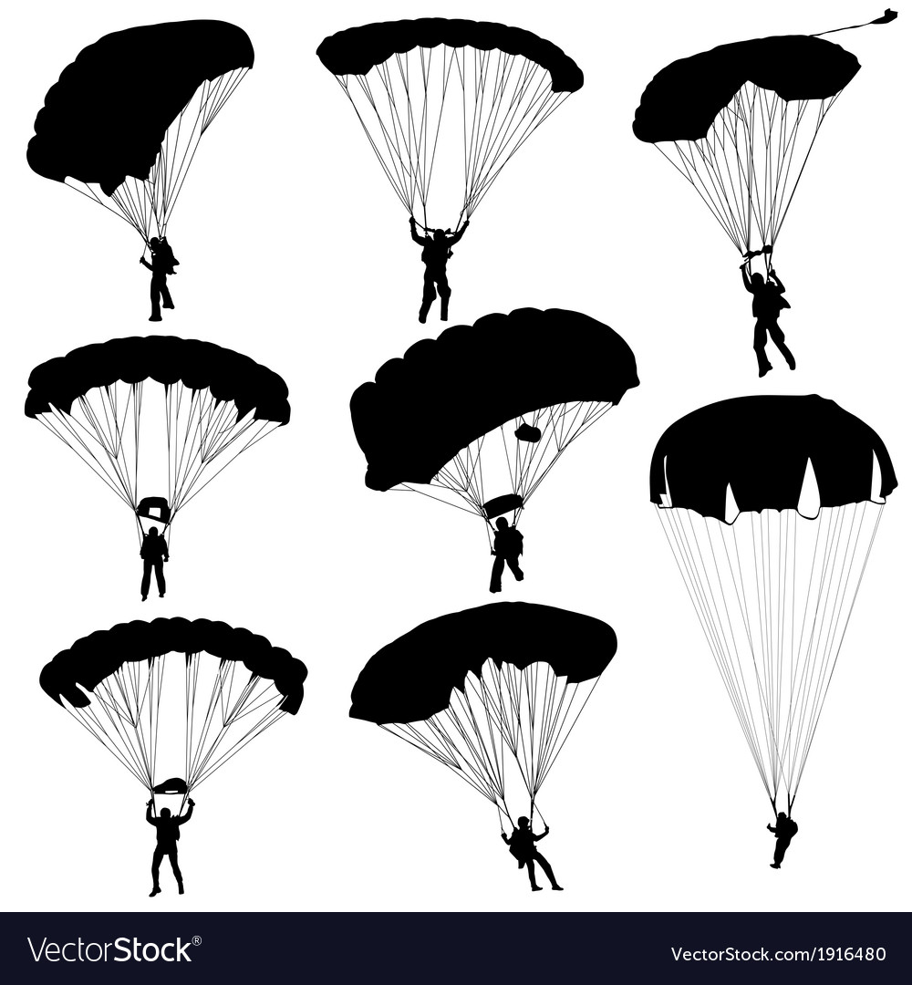 Set skydiver silhouettes parachuting vector | Price: 1 Credit (USD $1)