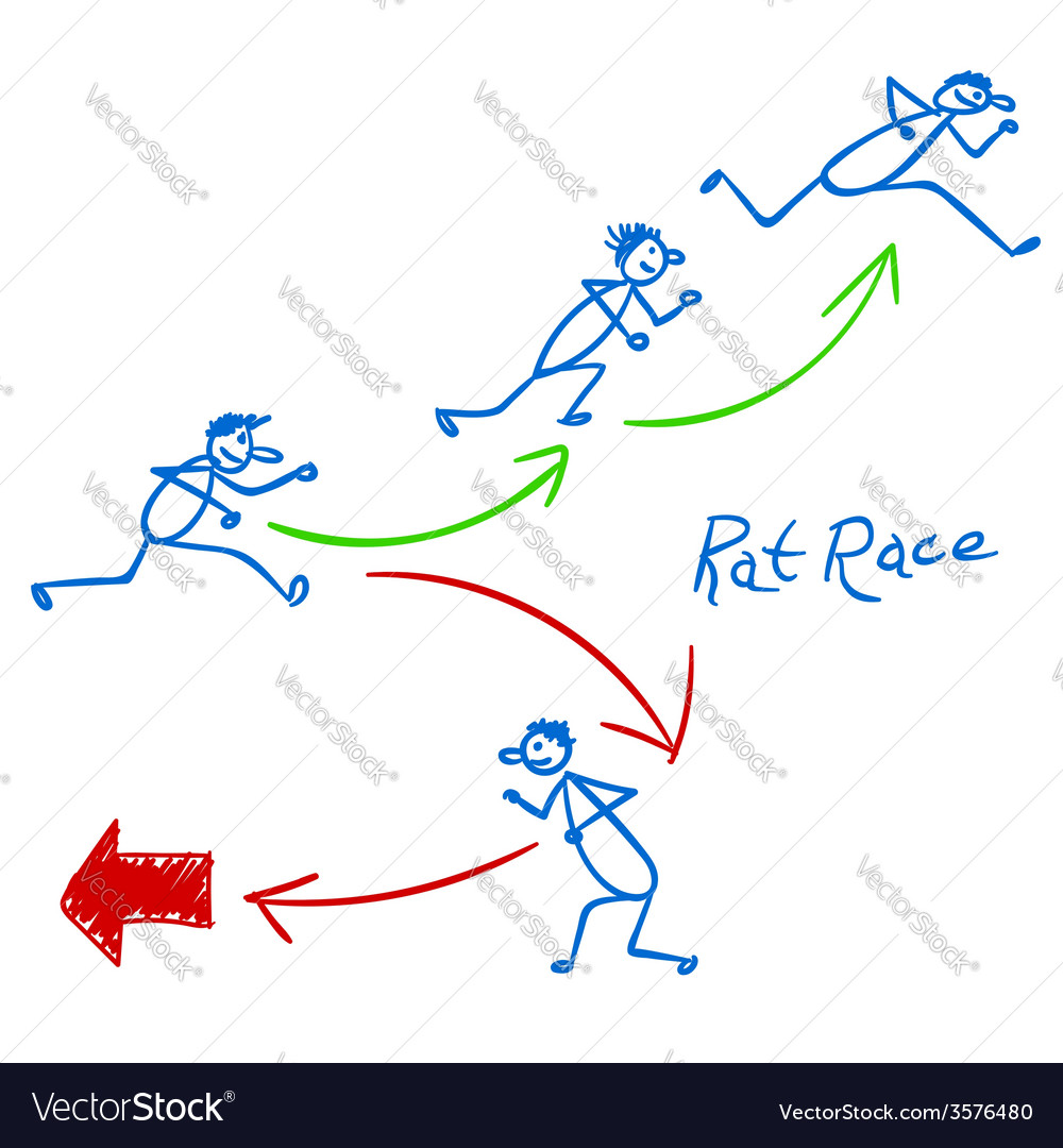 Sketch with people running right and wrong way vector | Price: 1 Credit (USD $1)