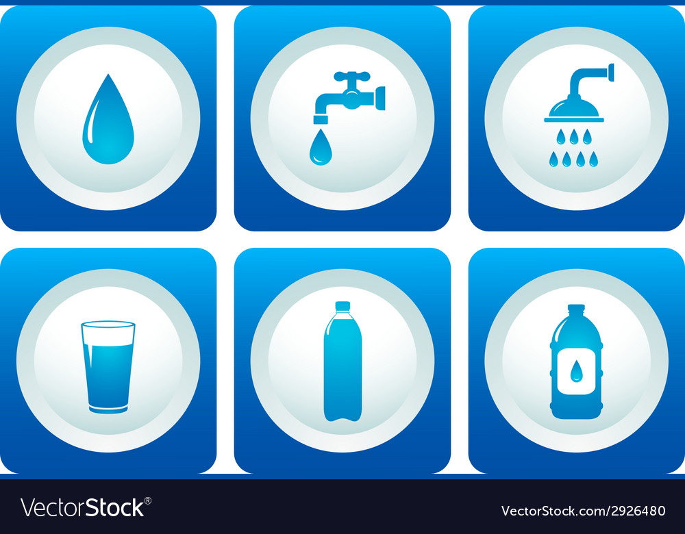 Water and plumbing icon set vector | Price: 1 Credit (USD $1)