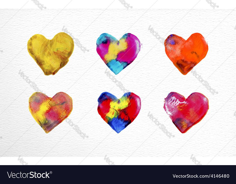 Watercolor heart love set vector | Price: 1 Credit (USD $1)