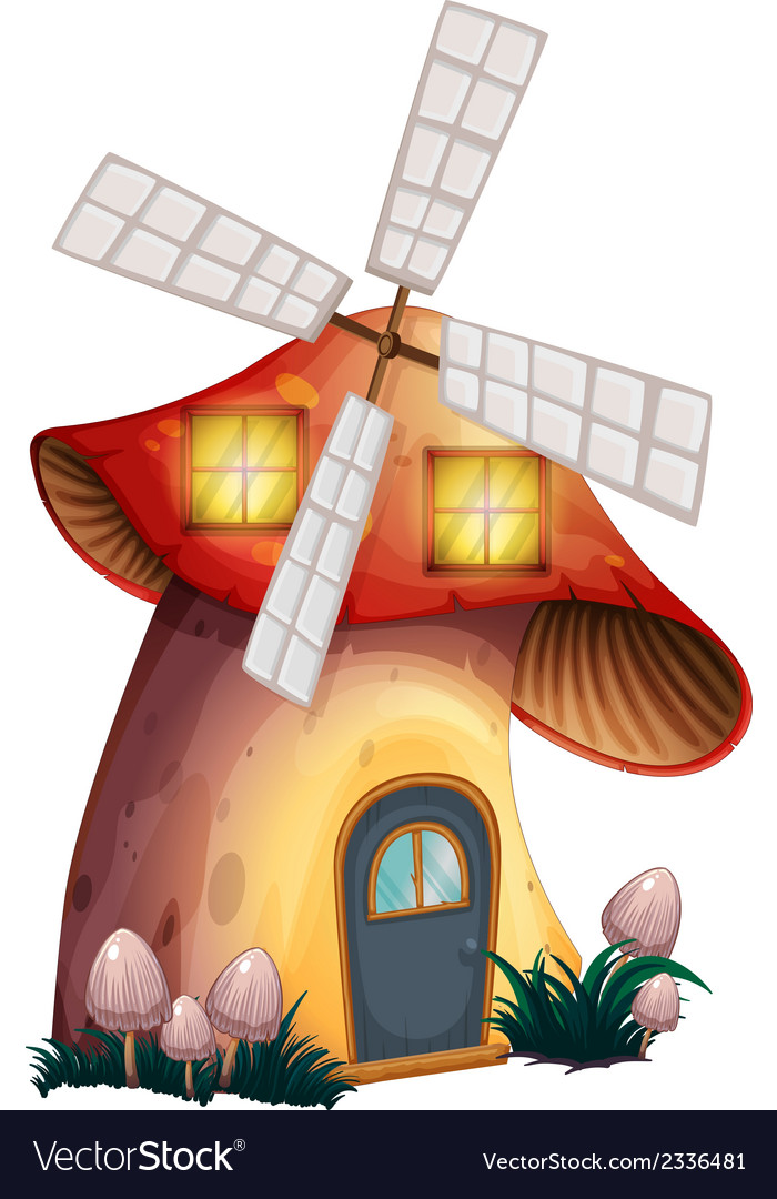 A mushroom house with a windmill vector | Price: 1 Credit (USD $1)