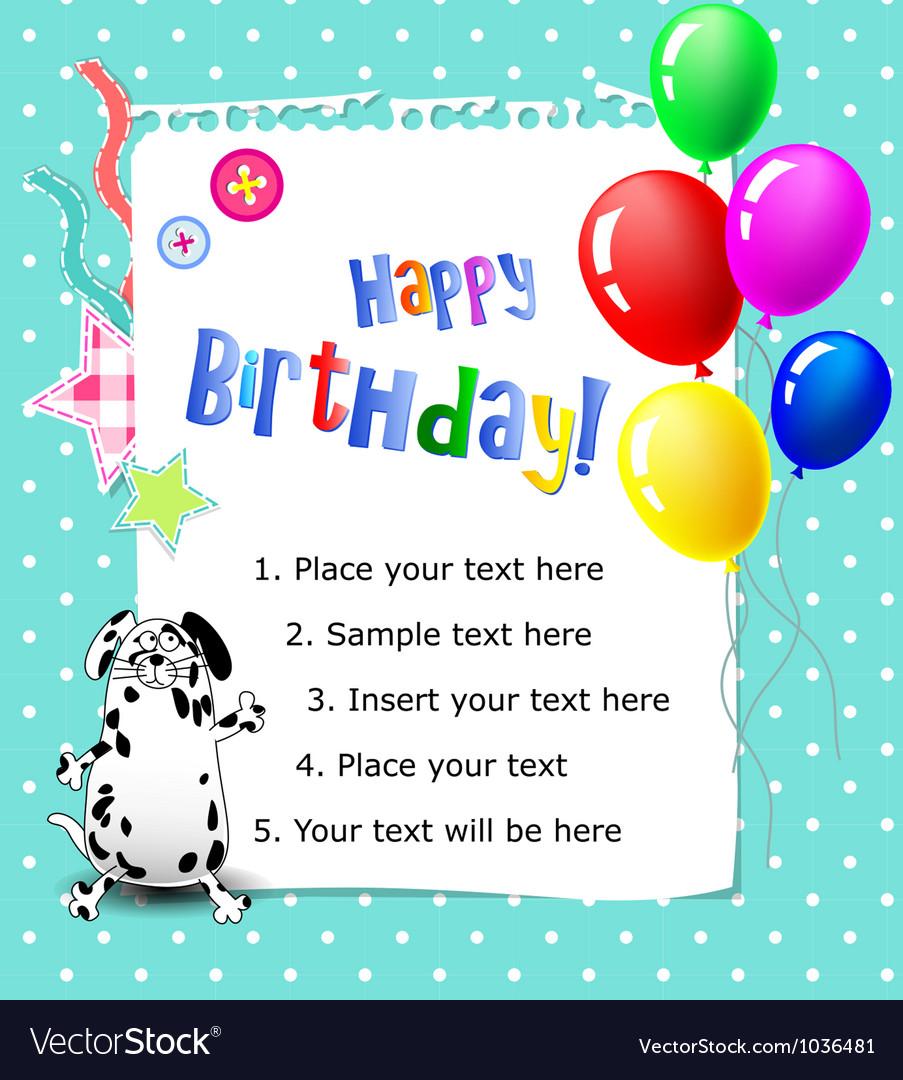 Baby happy birthday card blue vector | Price: 1 Credit (USD $1)