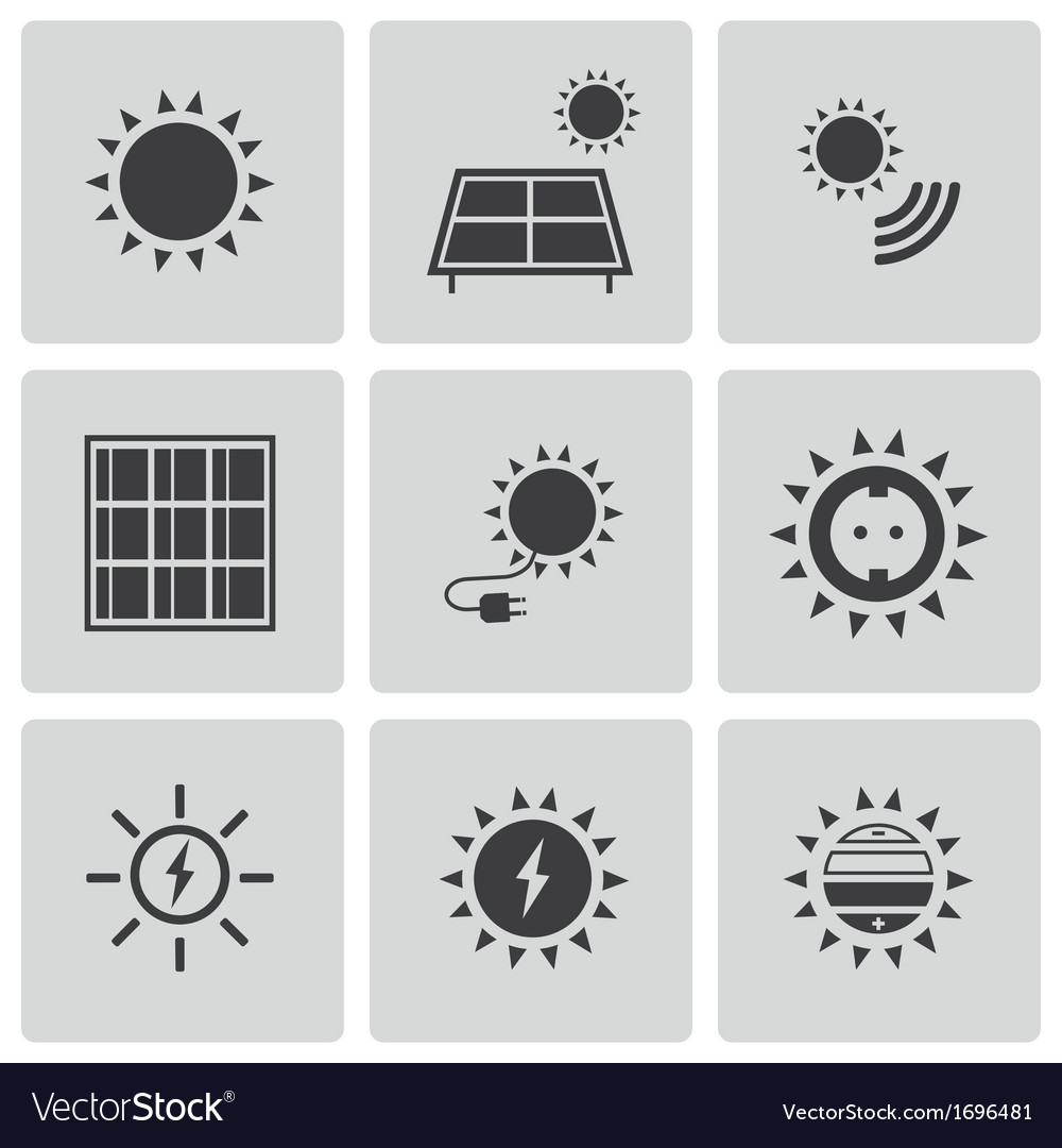 Black solar energy icons set vector | Price: 1 Credit (USD $1)