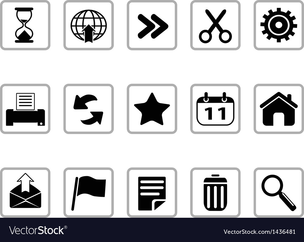 Black toolbar and interface icons buttons vector | Price: 1 Credit (USD $1)