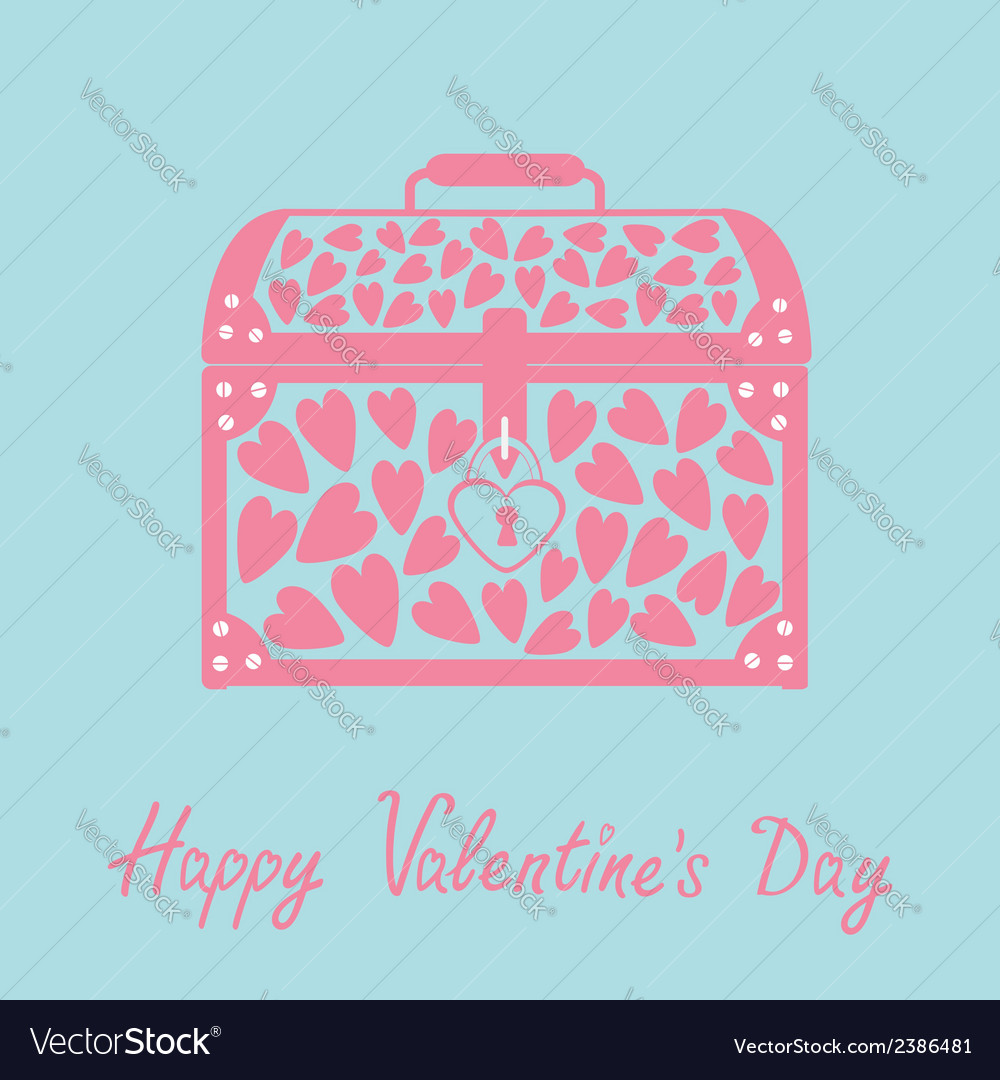 Chest with hearts happy valentines day card blue vector | Price: 1 Credit (USD $1)