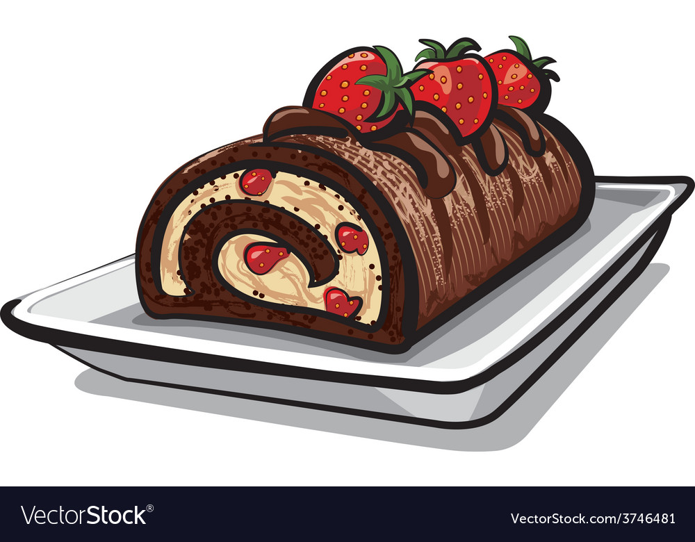 Chocolate roll cake with strawberry vector | Price: 3 Credit (USD $3)