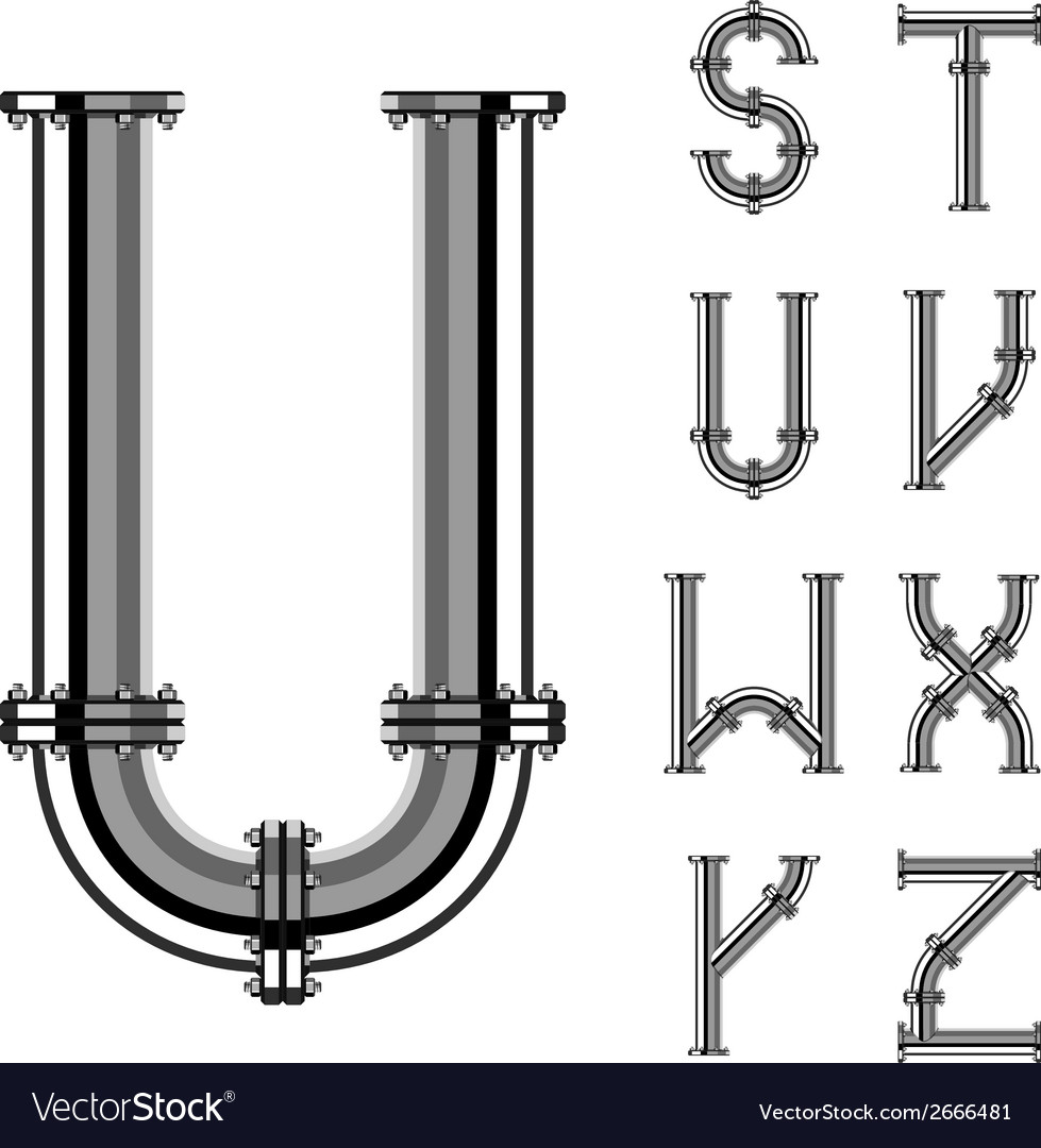 Chrome pipe alphabet letters part 3 vector | Price: 1 Credit (USD $1)