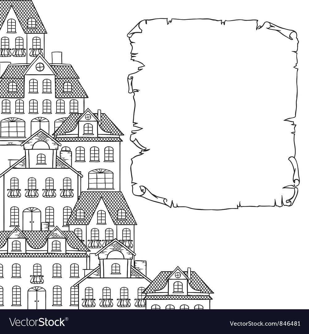 City sketch houses background for your design vector | Price: 1 Credit (USD $1)