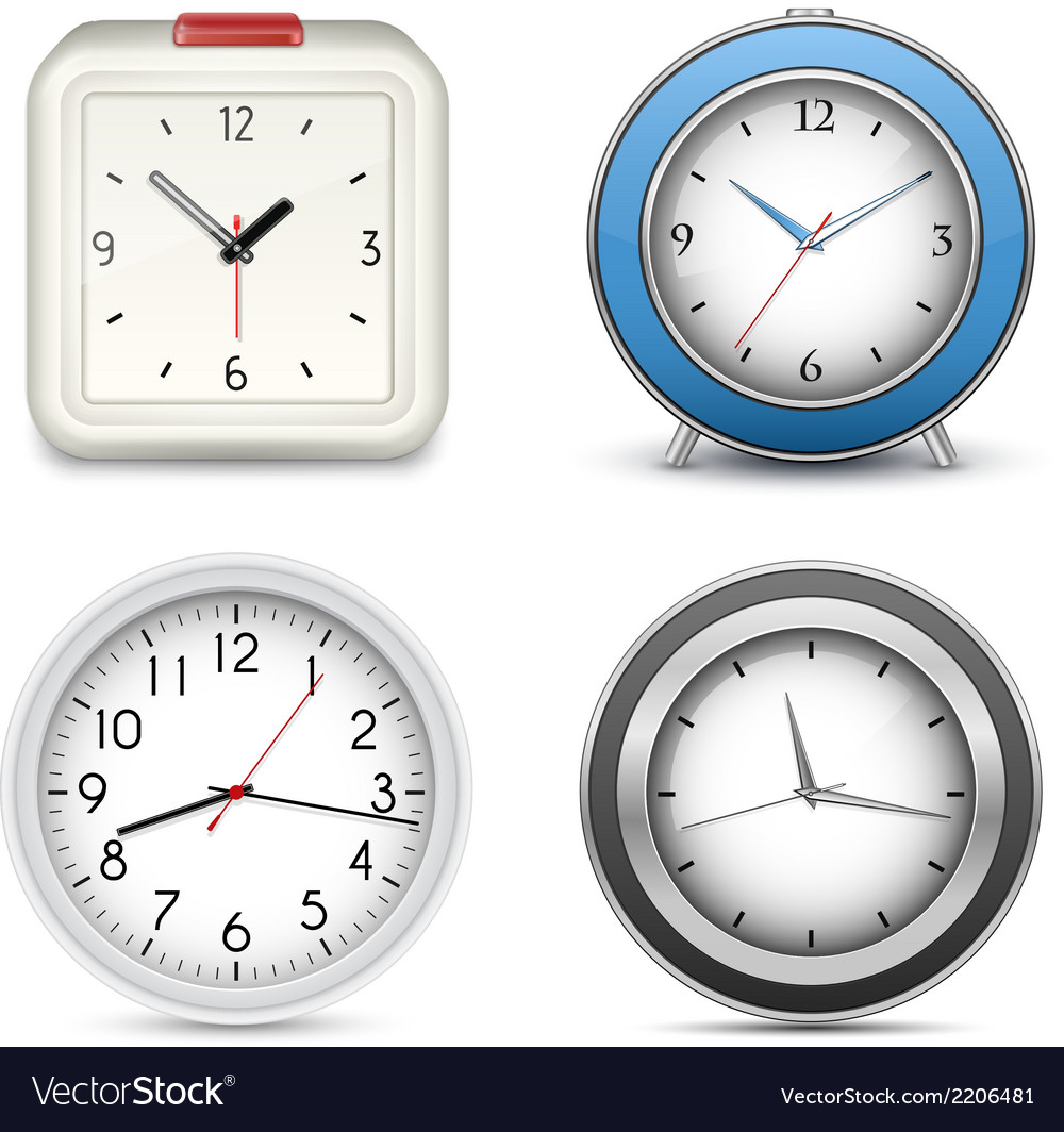 Collection of clocks and alarms vector | Price: 1 Credit (USD $1)