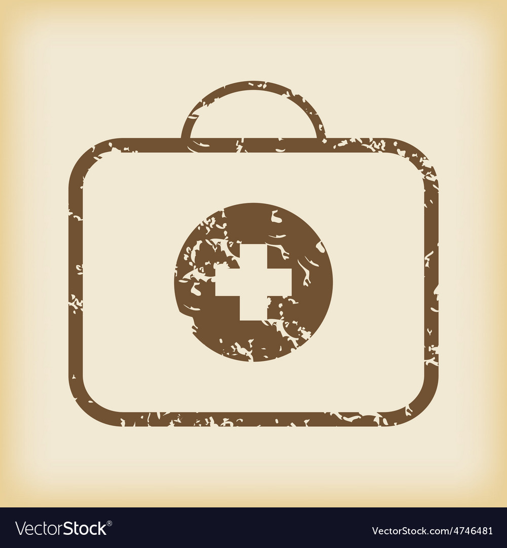 Grungy first-aid kit icon vector | Price: 1 Credit (USD $1)