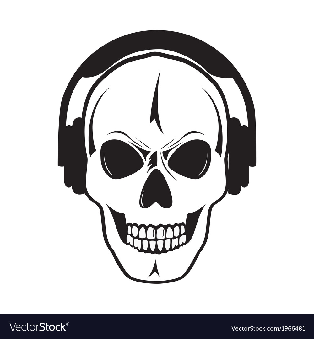 Jolly skull with headphones isolated object vector | Price: 1 Credit (USD $1)