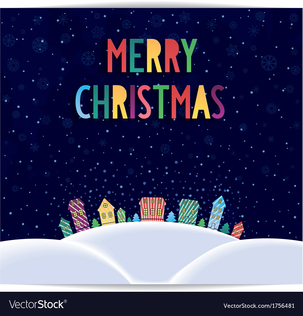 Merry christmas card with colored lettering design vector | Price: 1 Credit (USD $1)
