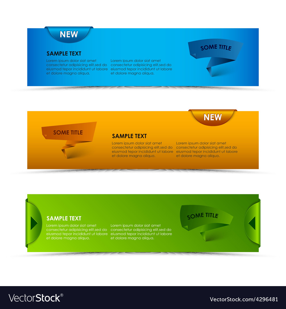 Modern horizontal banners with ribbons and vector | Price: 1 Credit (USD $1)