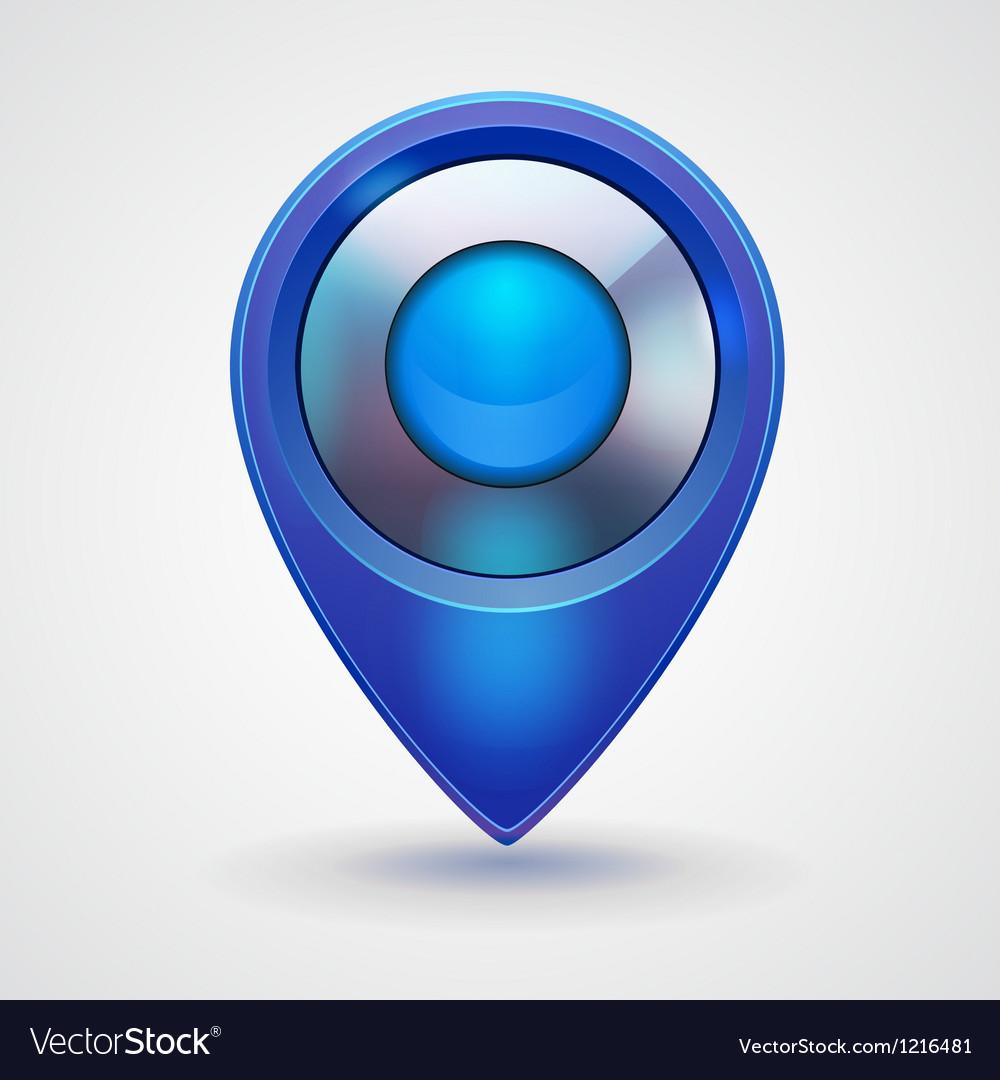 Pointer bright blue glossy icon vector   Price: 3 Credit (USD $3)