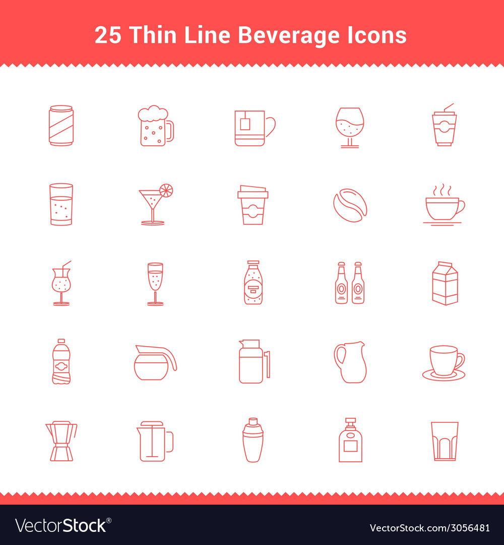 Set of thin line stroke beverage icon vector | Price: 1 Credit (USD $1)