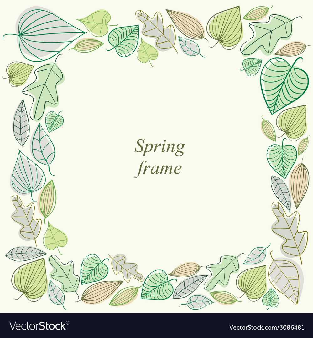 Spring frame made of leaves vector | Price: 1 Credit (USD $1)