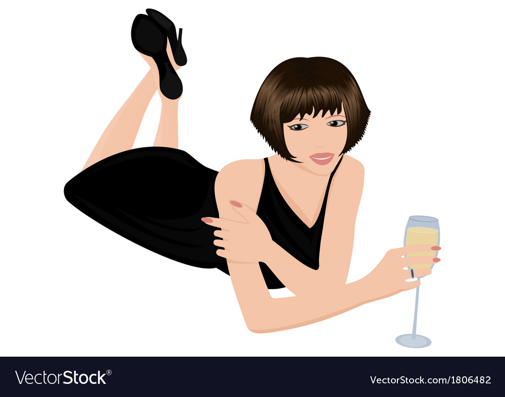 Beautiful woman with glass of wine vector | Price: 1 Credit (USD $1)