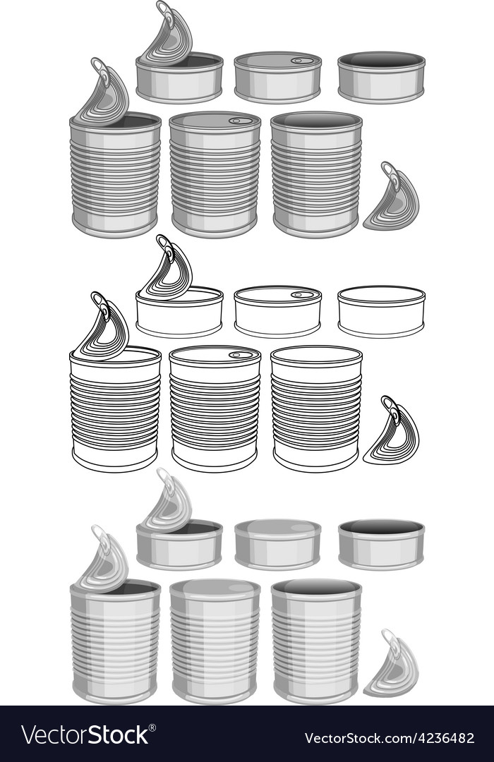 Canned food cans pack vector | Price: 1 Credit (USD $1)